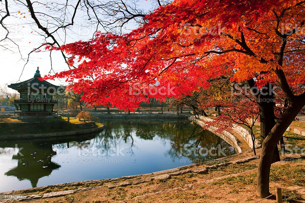 Hyangwonjeong pavilion in Seoul stock photo