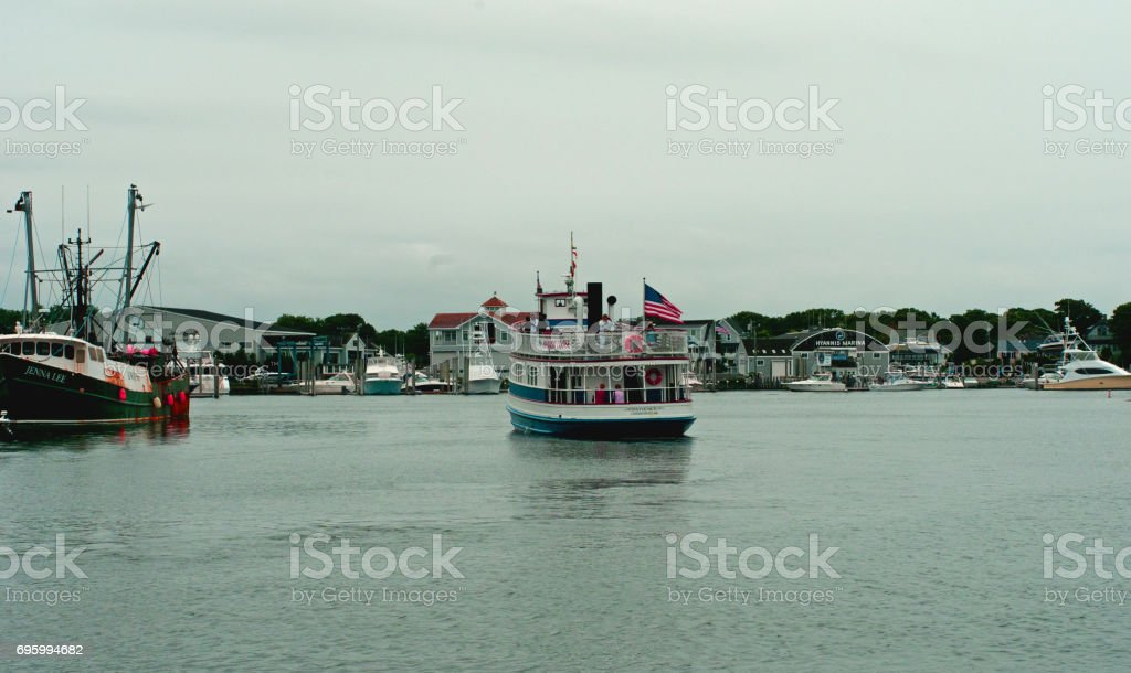 Hyannis harbor cape cod stock photo