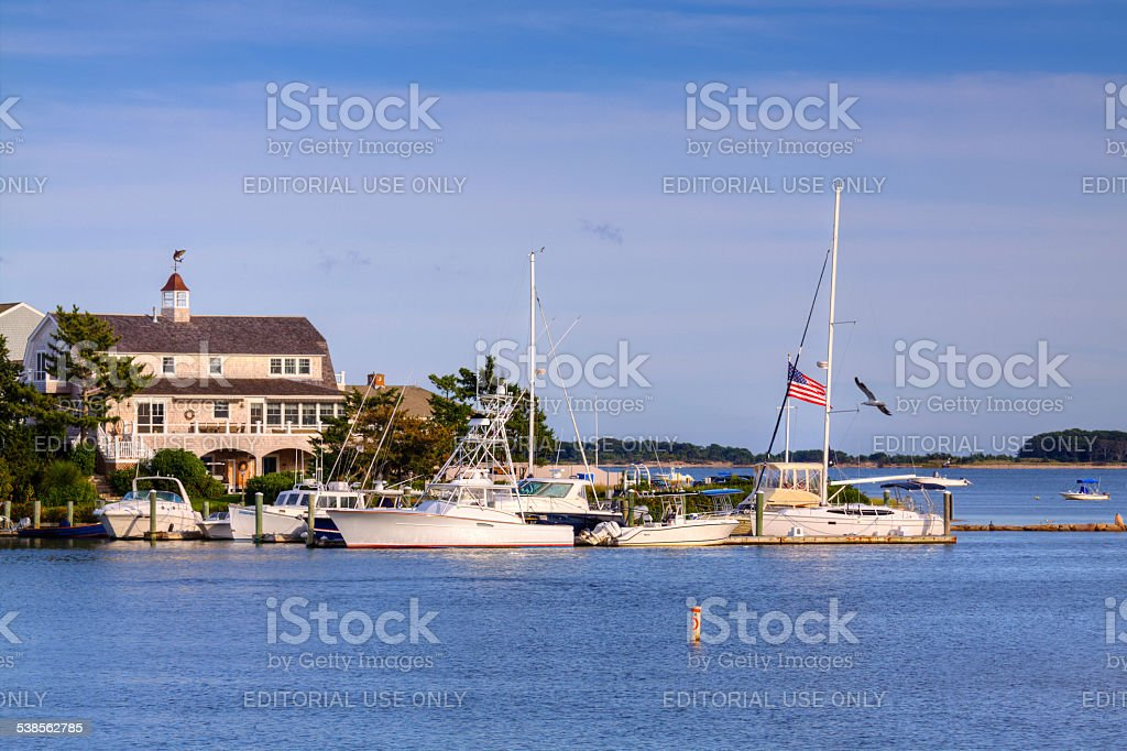 Hyannis Marina in the evening, Cape Cod, Massachusetts, USA. stock photo