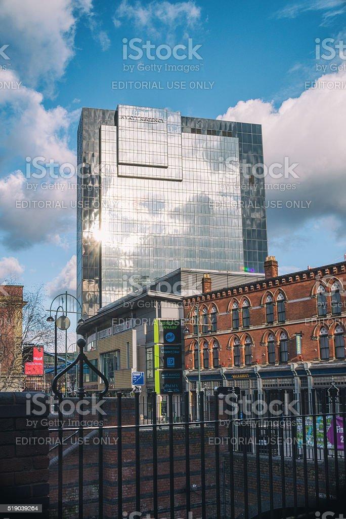 Hyatt Regency building facade under a blue sky stock photo
