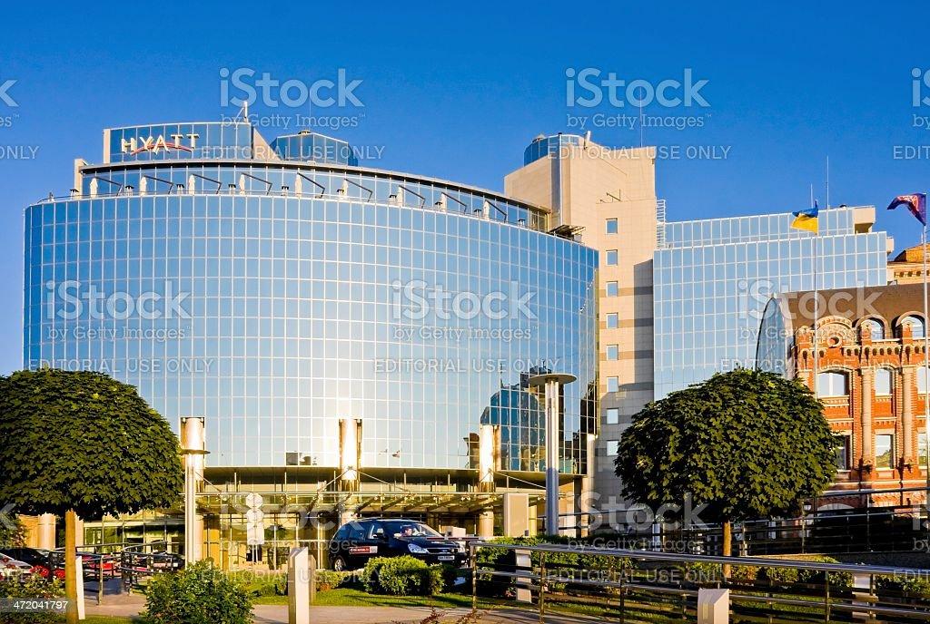 Hyatt Regency Kiev Hotel (234 rooms) near Sofia Place, Ukraine stock photo