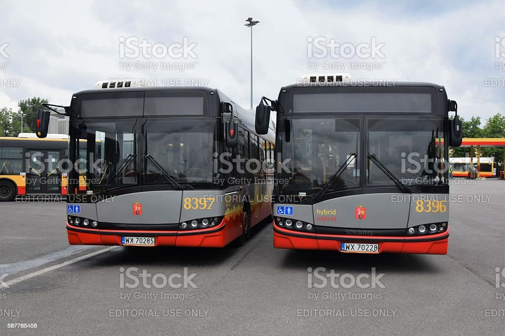 Hybrid buses in a row stock photo