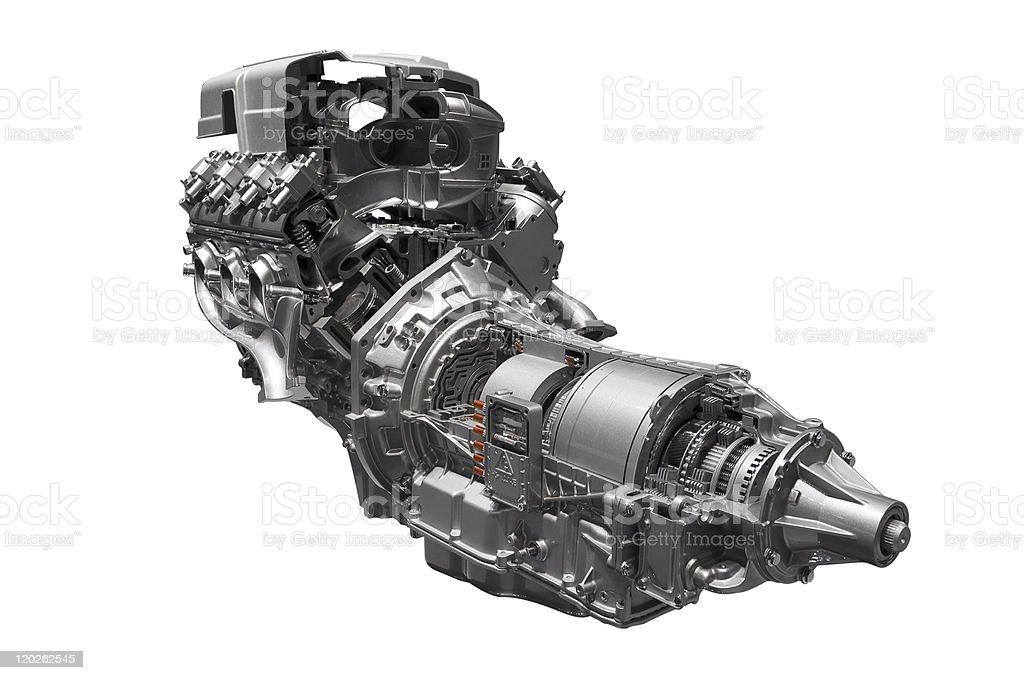 Hybrid car engine royalty-free stock photo