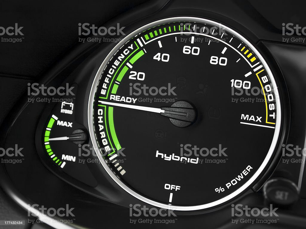 Hybrid car instrument cluster stock photo