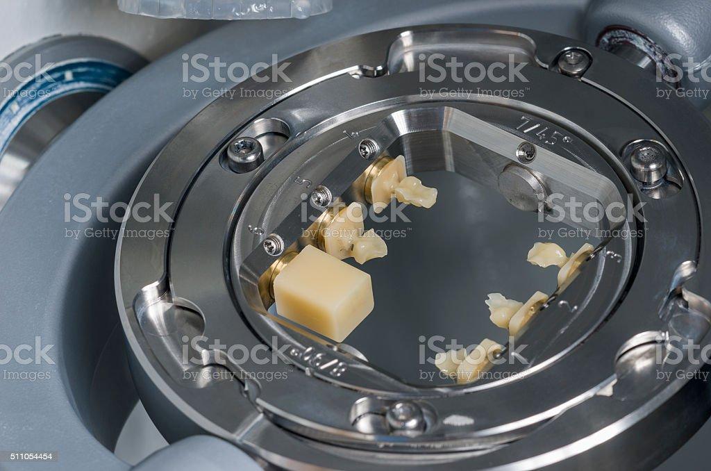 Hybrid ceramics: composite and ceramics into the milling machine stock photo