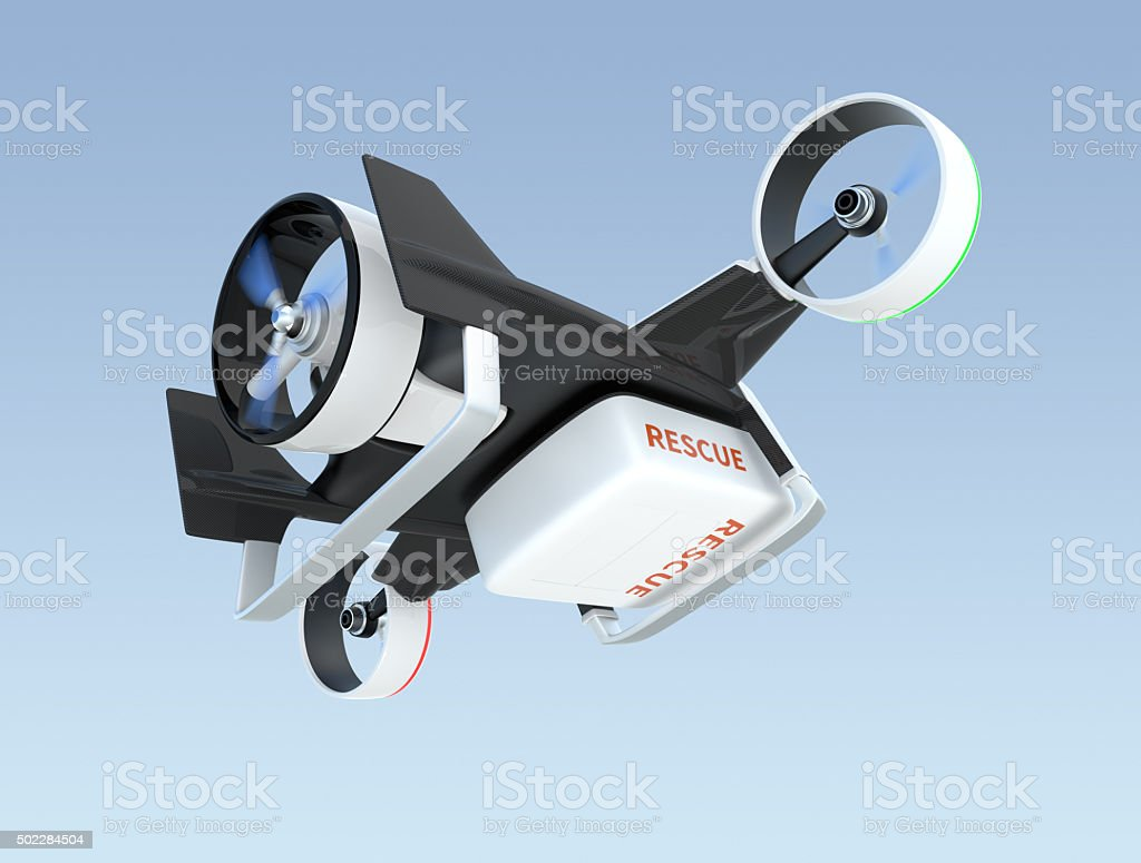 Hybrid drone flying in the sky, stock photo