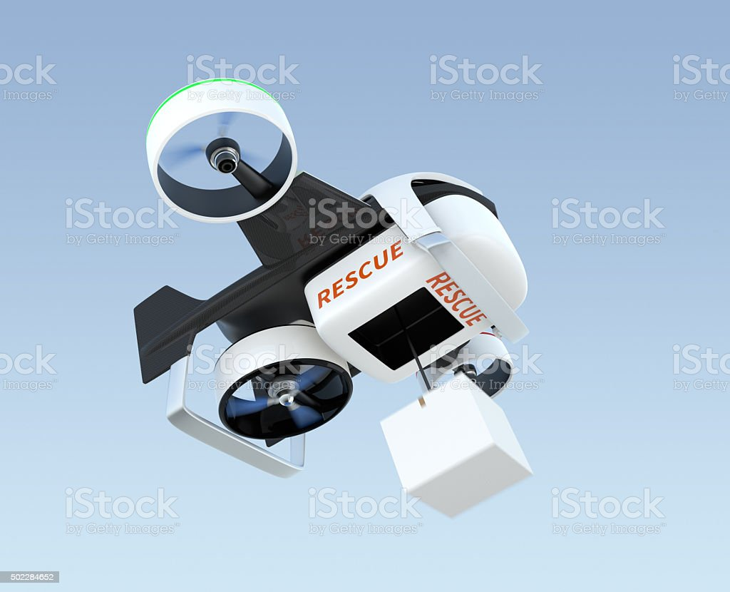 Hybrid drone hovering in the sky, stock photo