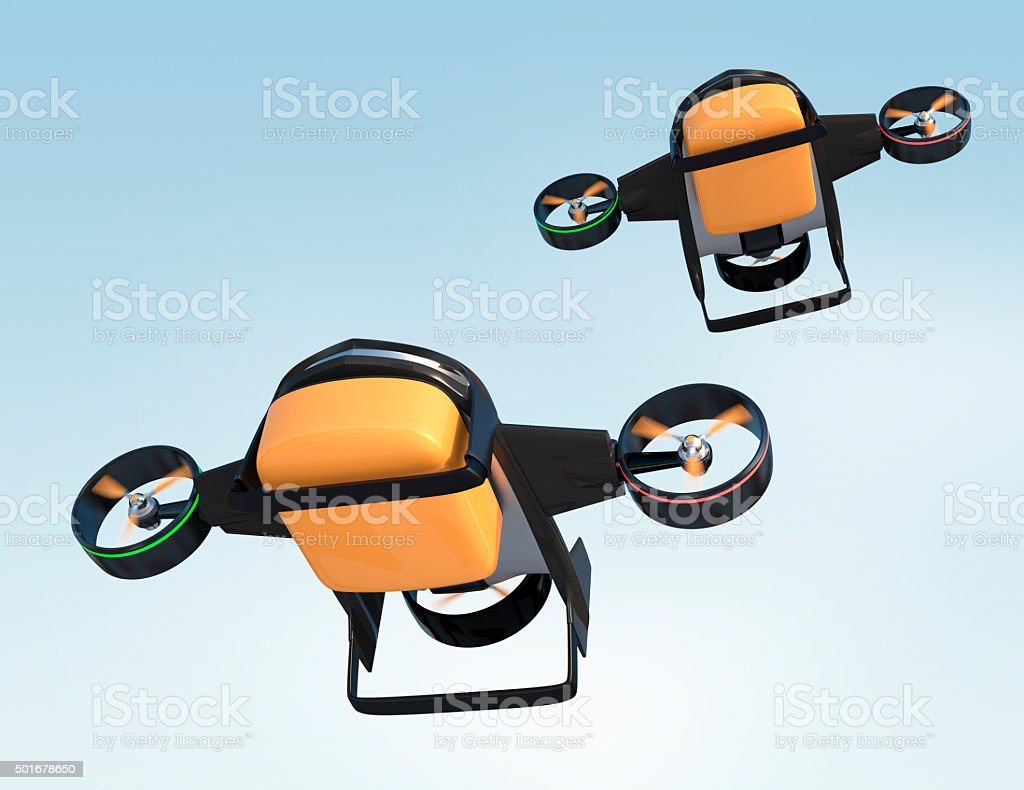 Hybrid drone with two mode for fast delivery concept stock photo