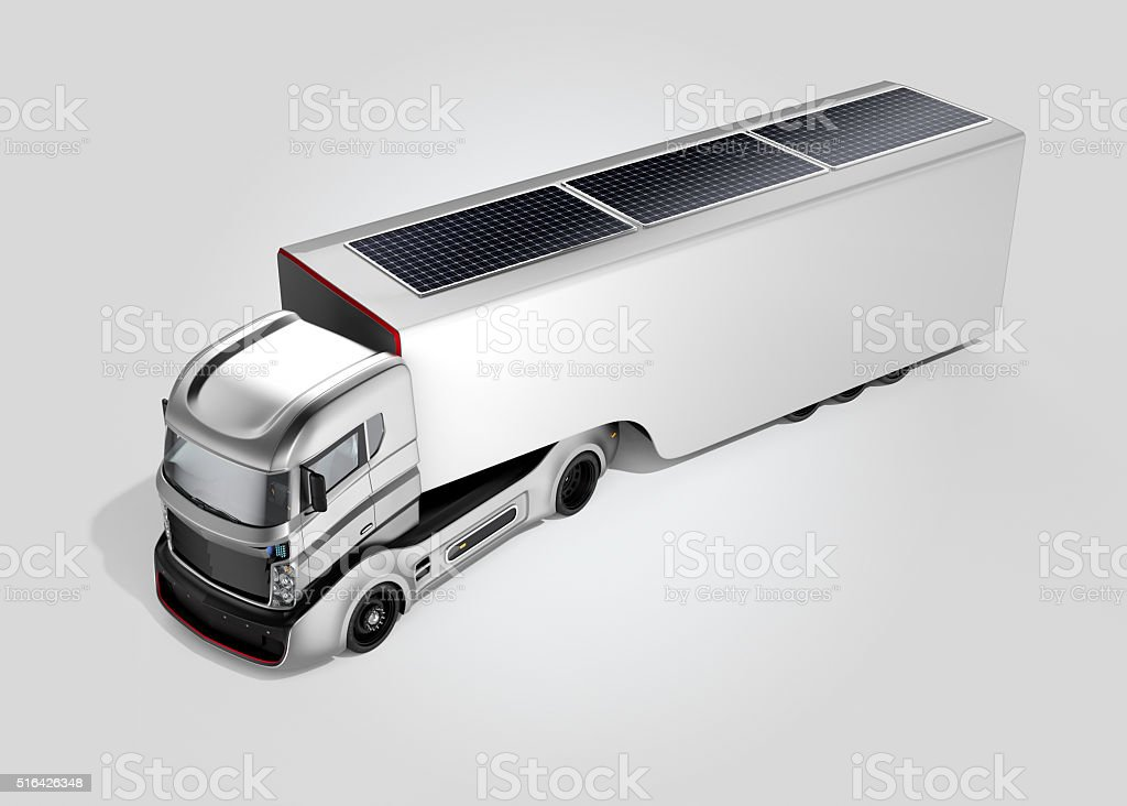 Hybrid electric truck isolated on gray background stock photo