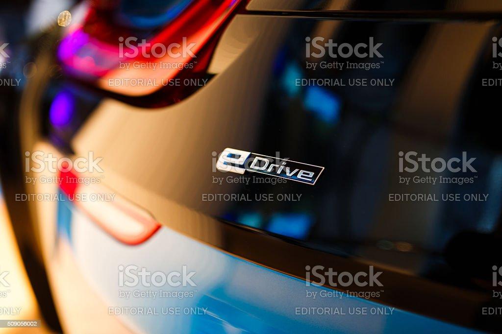 BMW I8 hybrid sports car stock photo