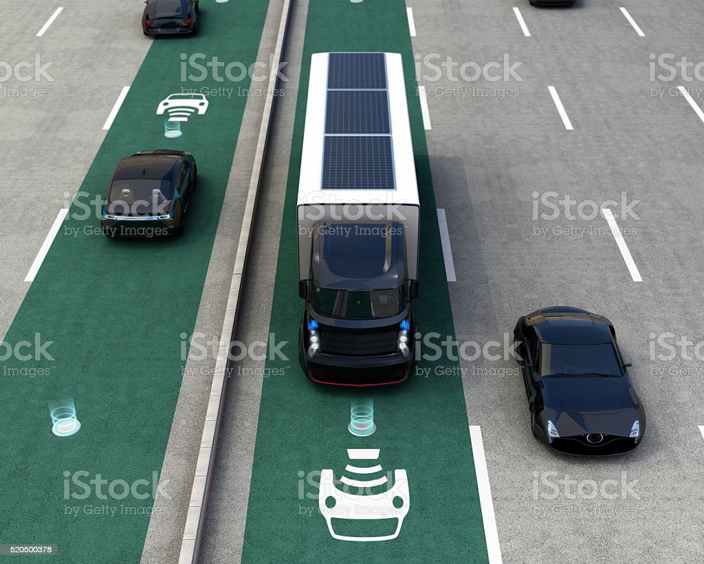 Hybrid truck and blue electric car stock photo