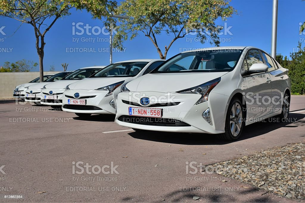Hybrid vehicles on the parking stock photo