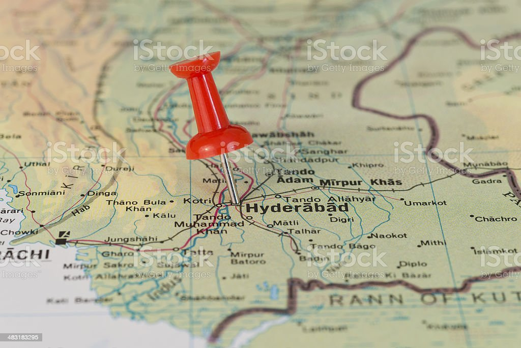 Hyderabad in Pakistan Marked With Red Pushpin on Map stock photo