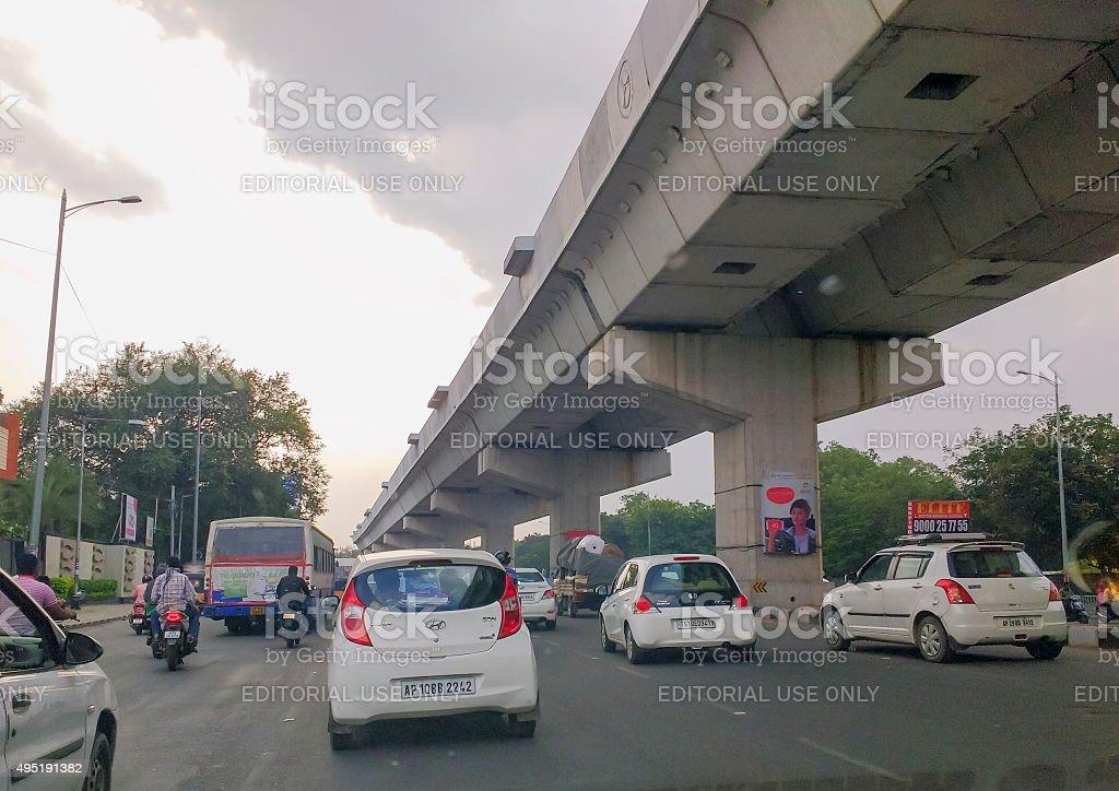 Hyderabad metro rail, India stock photo