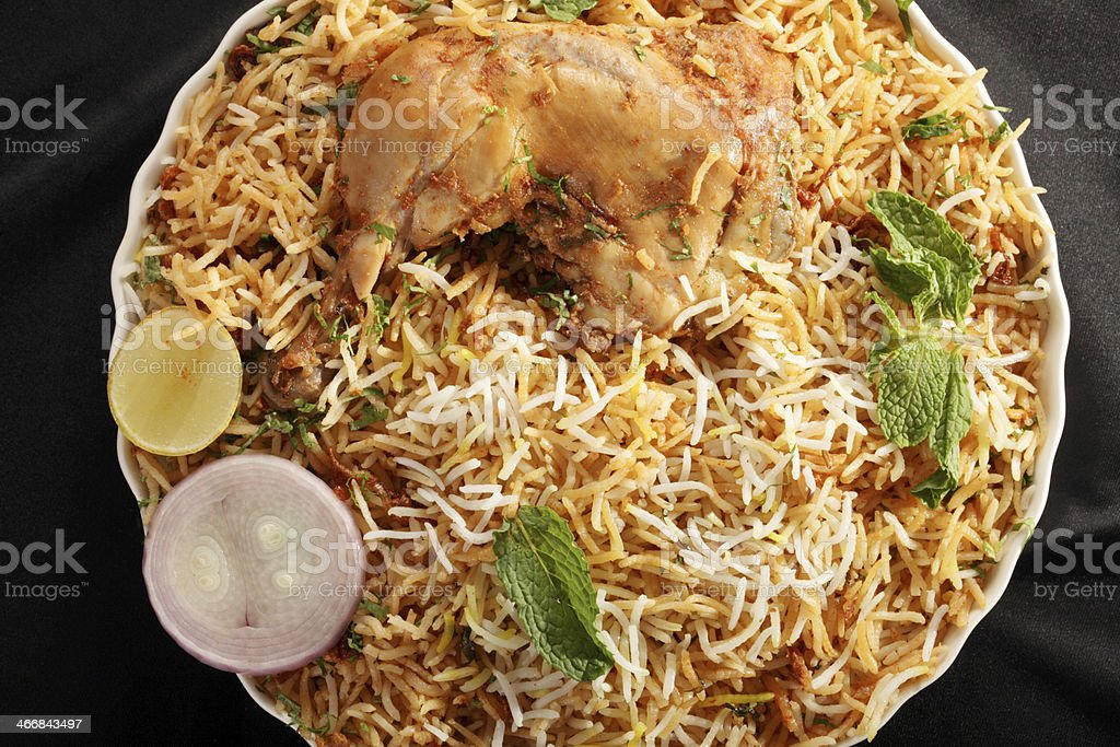 Hyderabadi Biryani is a Popular Chicken or Mutton based dish stock photo