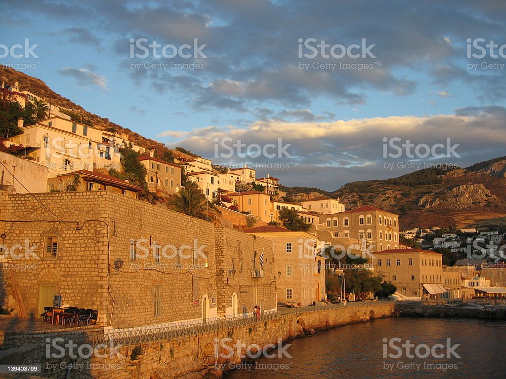 Hydra at sunset stock photo