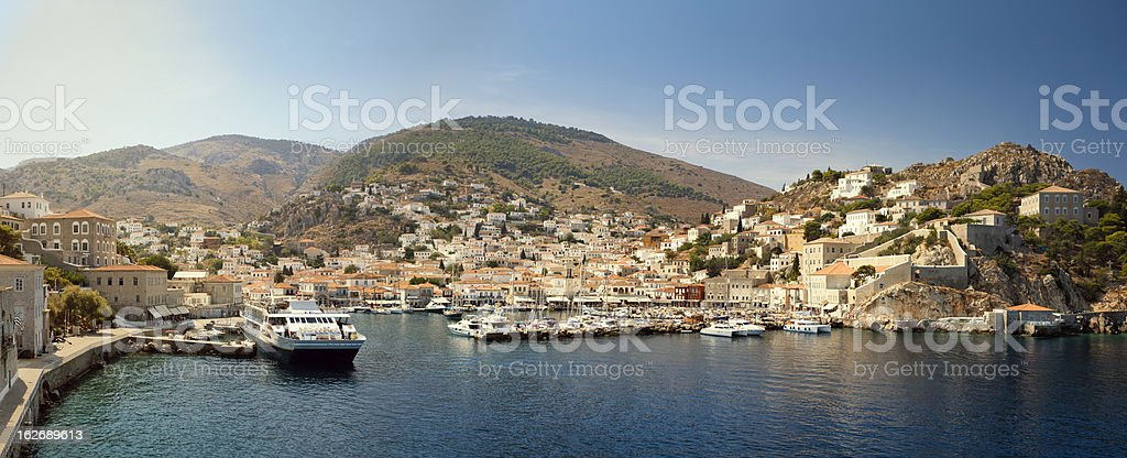 Hydra harbour stock photo