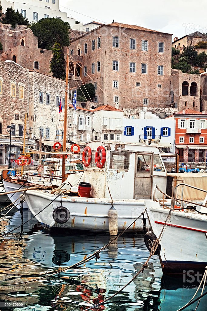 Hydra island - Partial view of the port and town stock photo