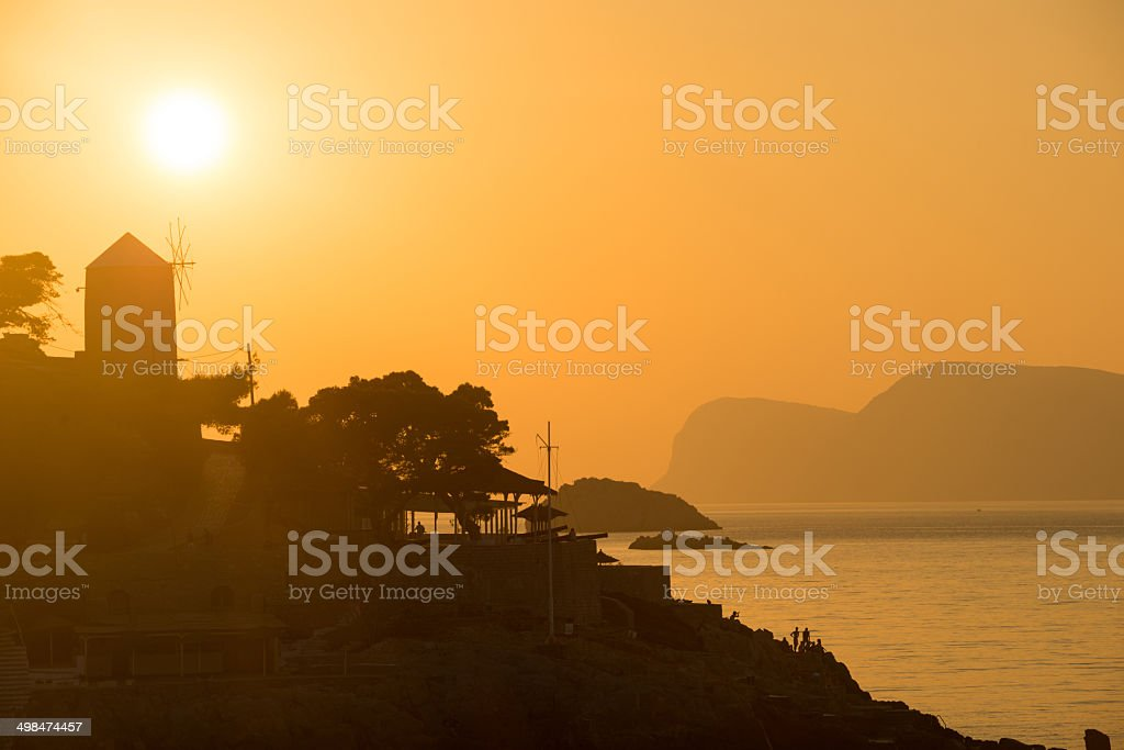 Hydra Island Sunset stock photo