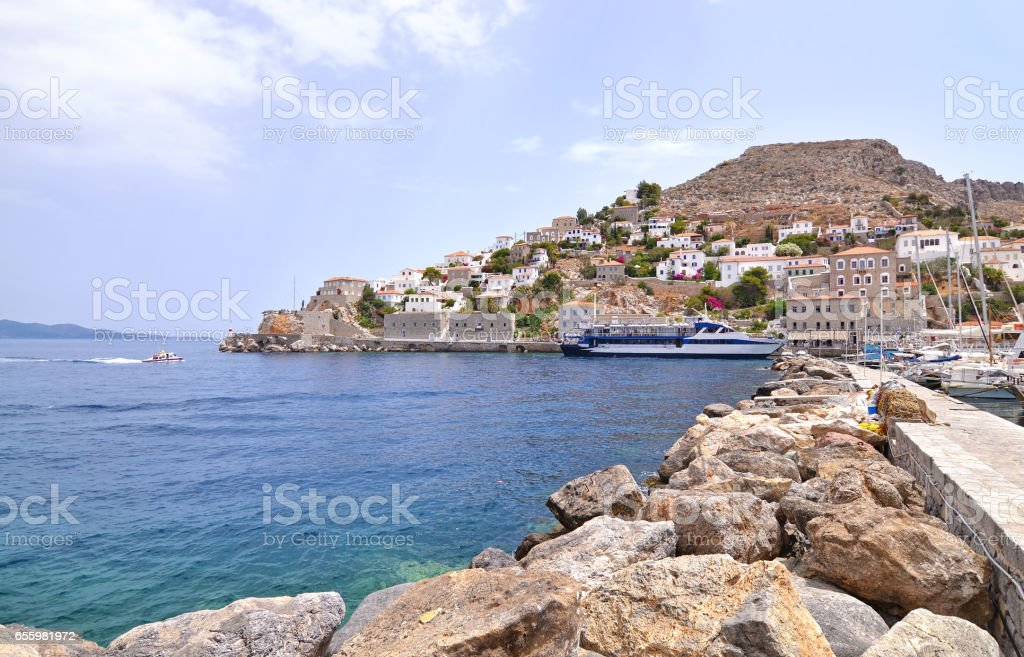 Hydra landscape Saoric Gulf Greece stock photo