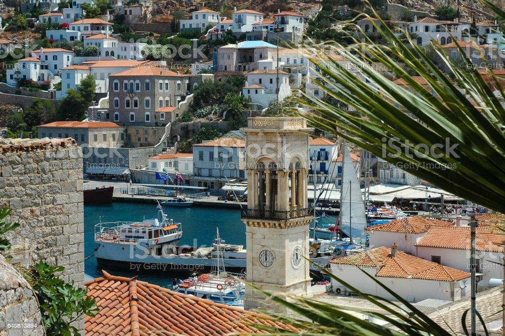 Hydra,Greece,panoramic harbor stock photo