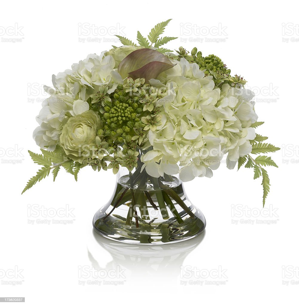 Hydrangea and Agapanthus Bouquet on a white background royalty-free stock photo