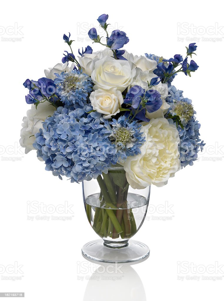 Hydrangea and Peony Bouquet on white background royalty-free stock photo