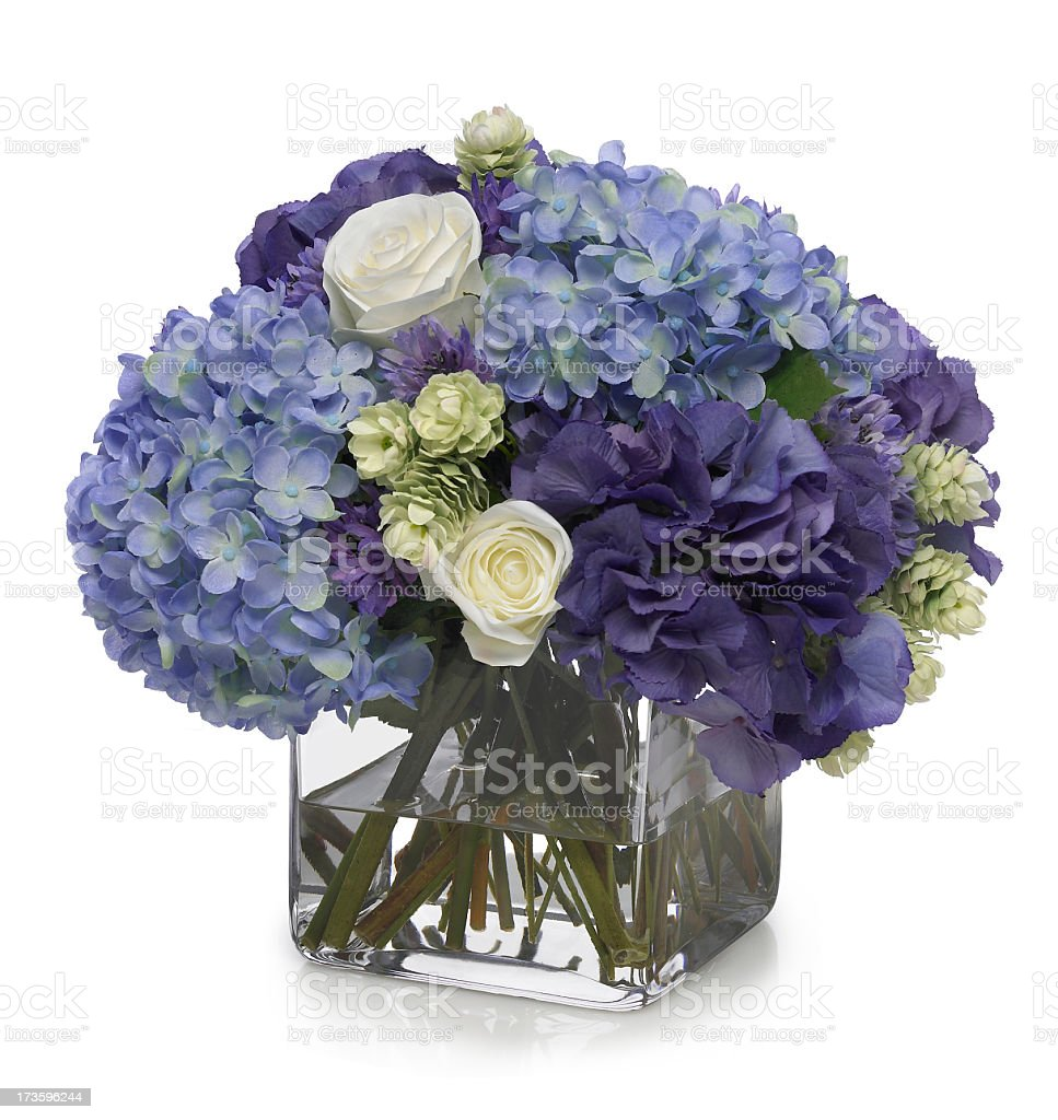 Hydrangea and rose bouquet on white background stock photo