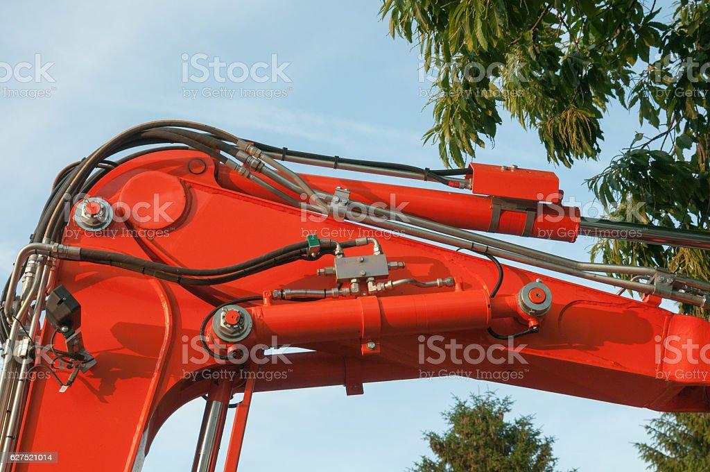 Hydraulic arm of an excavator, stock photo