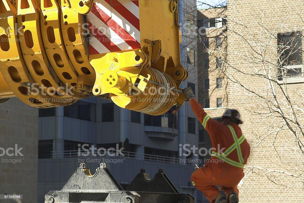 Hydraulic Crane Lifted stock photo