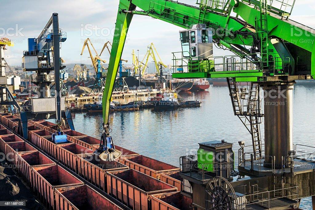 Hydraulic crane - manipulator  . stock photo