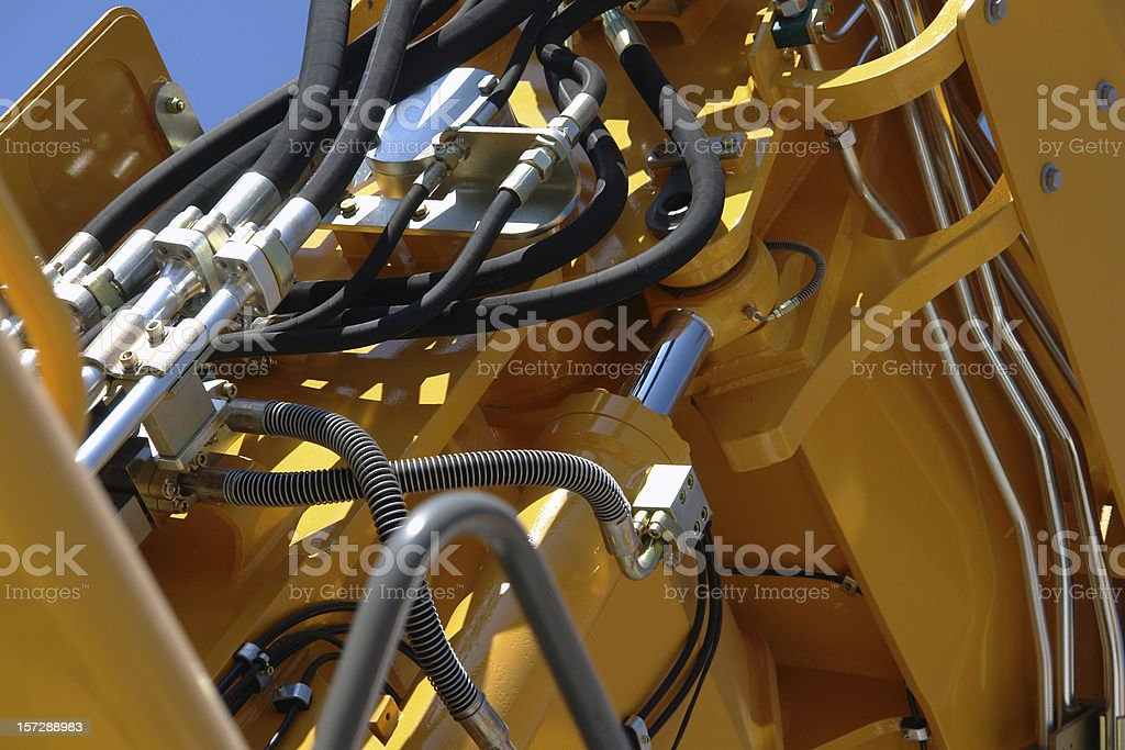 Hydraulic details of construction machinery. stock photo