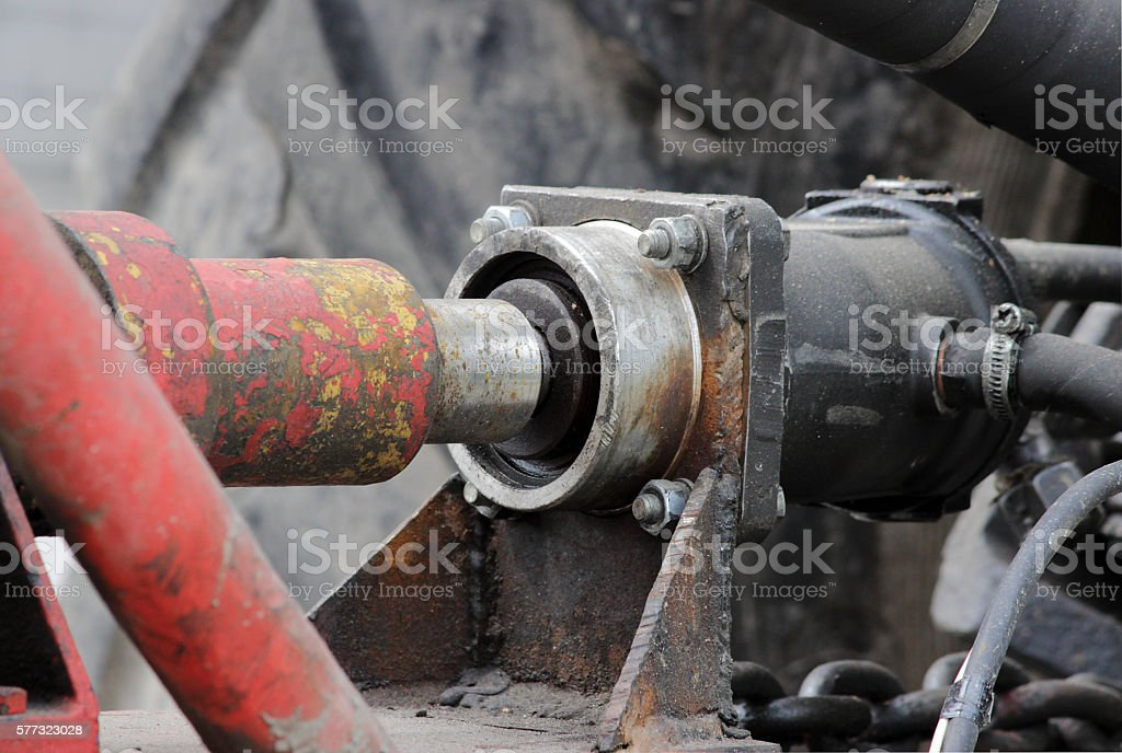 hydraulic drive of the  system to the tractor for irrigation stock photo