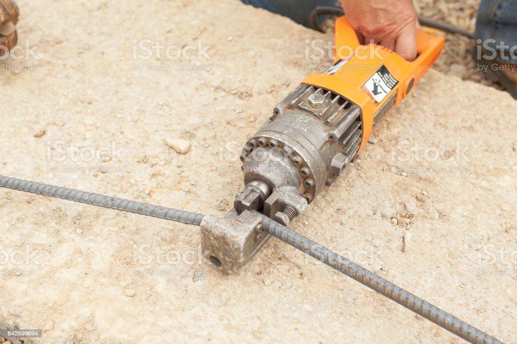 Hydraulic Electric Tool Cutting Rebar Reinforcement Rod stock photo