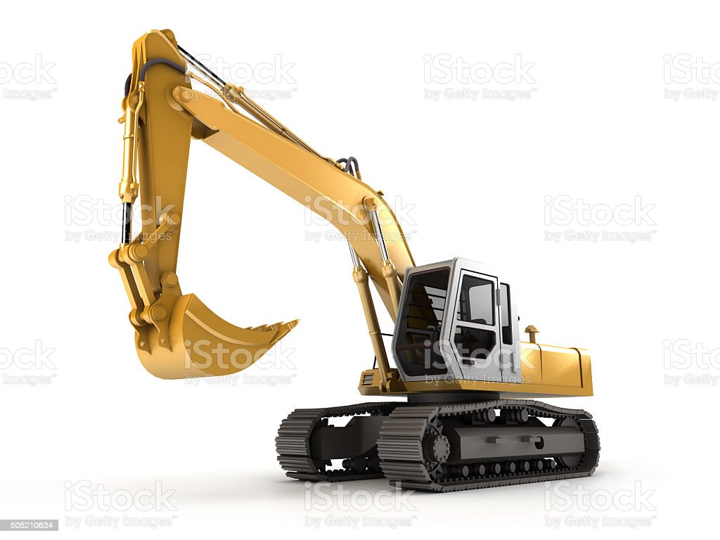 Hydraulic Excavator. Perspective stock photo