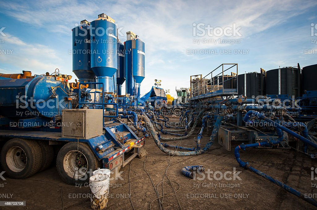 Hydraulic Fracturing or Fracking Equipment on Site stock photo