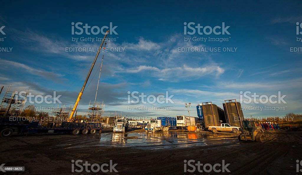 Hydraulic fracturing or fracking job site in Canada stock photo