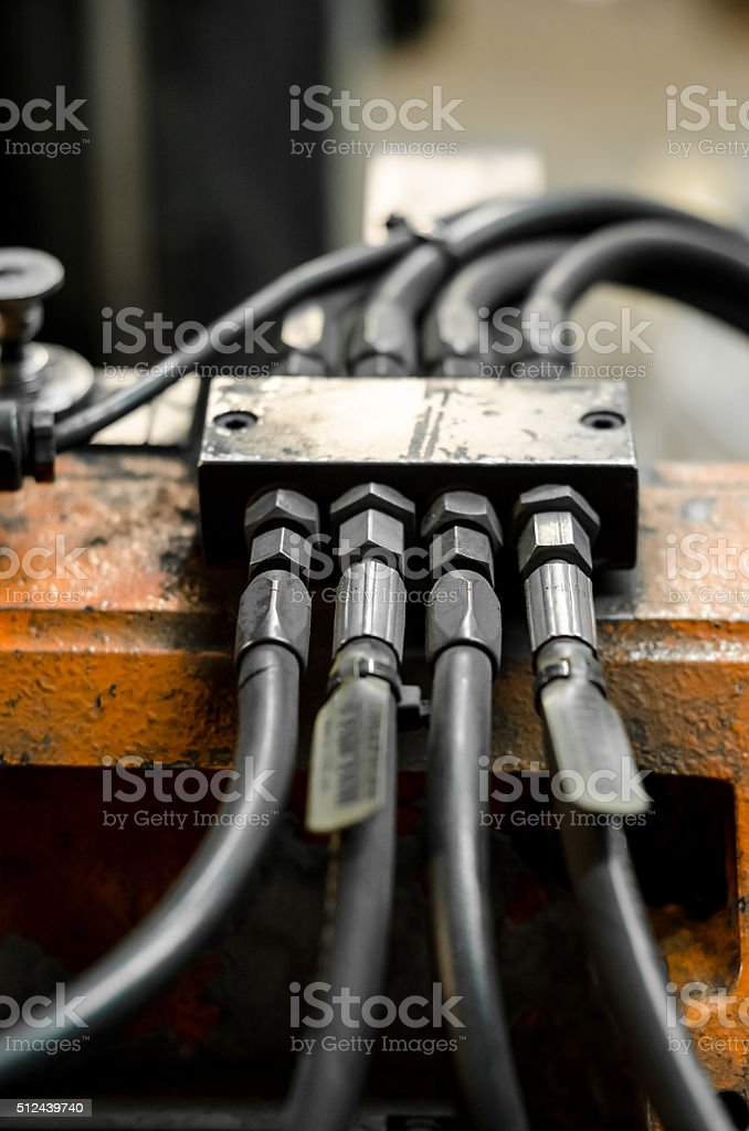 Hydraulic hose and connector stock photo