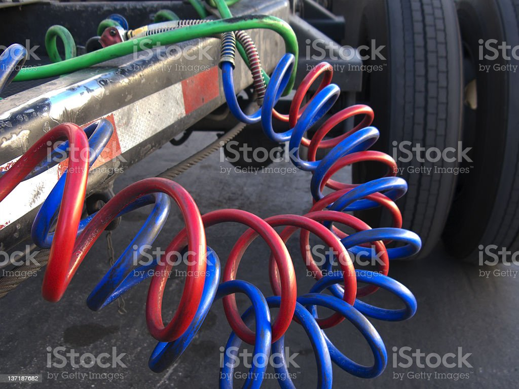 Hydraulic Hoses on Commercial Trailer royalty-free stock photo