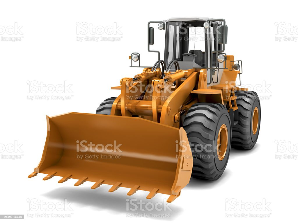 Hydraulic loader. Front view. Isolated on white stock photo