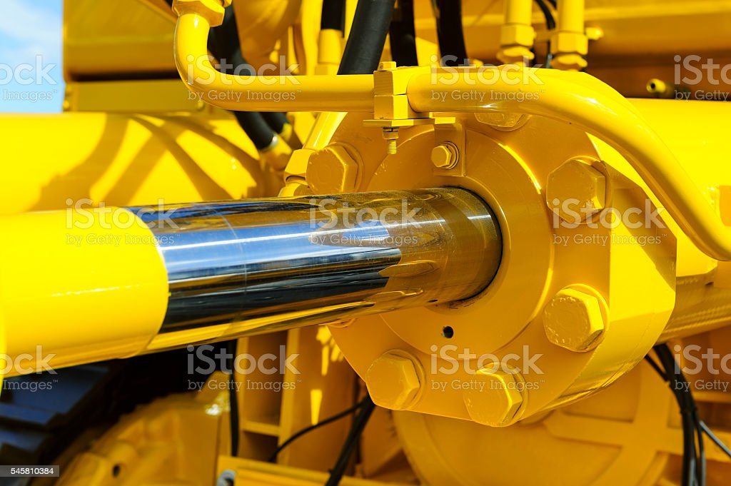 Hydraulic piston system stock photo