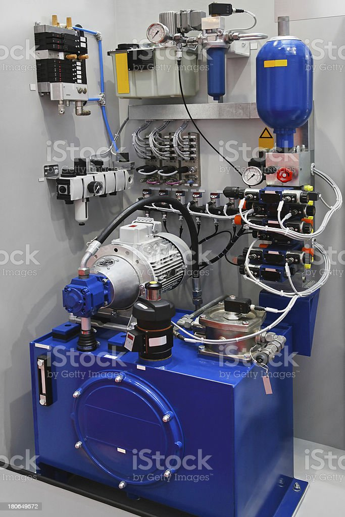Hydraulic pump in blue and white stock photo