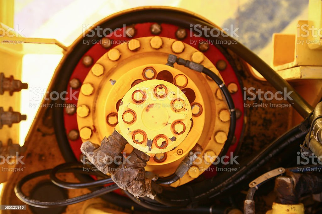 Hydraulic pump with hydraulic hose line and equipment stock photo