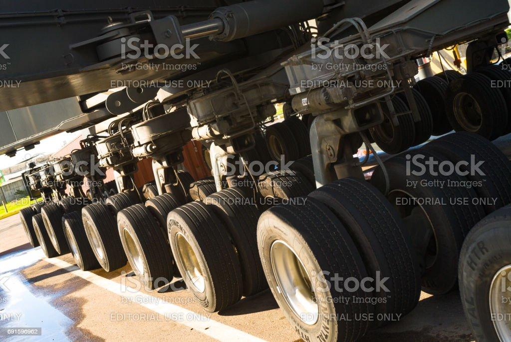 Hydraulic shaft of a loading crane stock photo