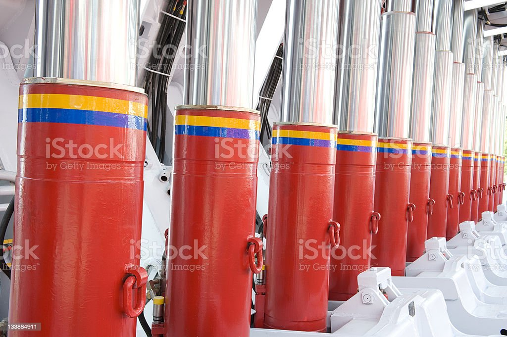 Hydraulic support in a large factory stock photo
