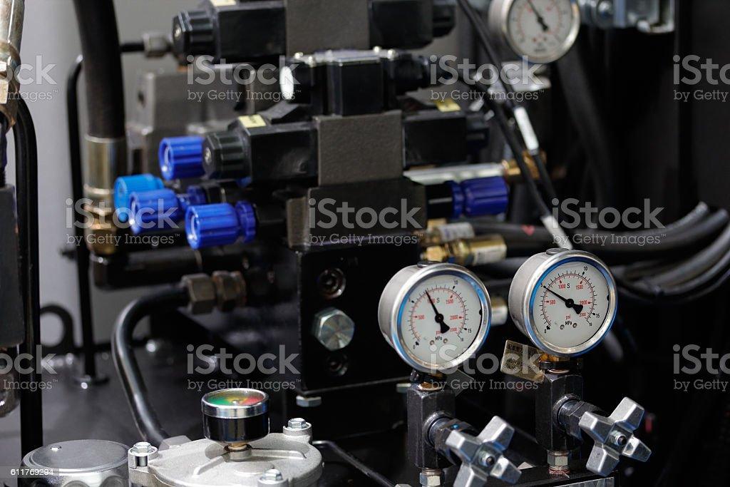 hydraulic system of cnc machine stock photo
