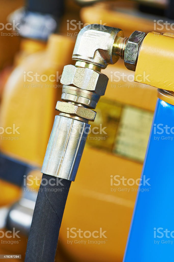 Hydraulics of machinery stock photo