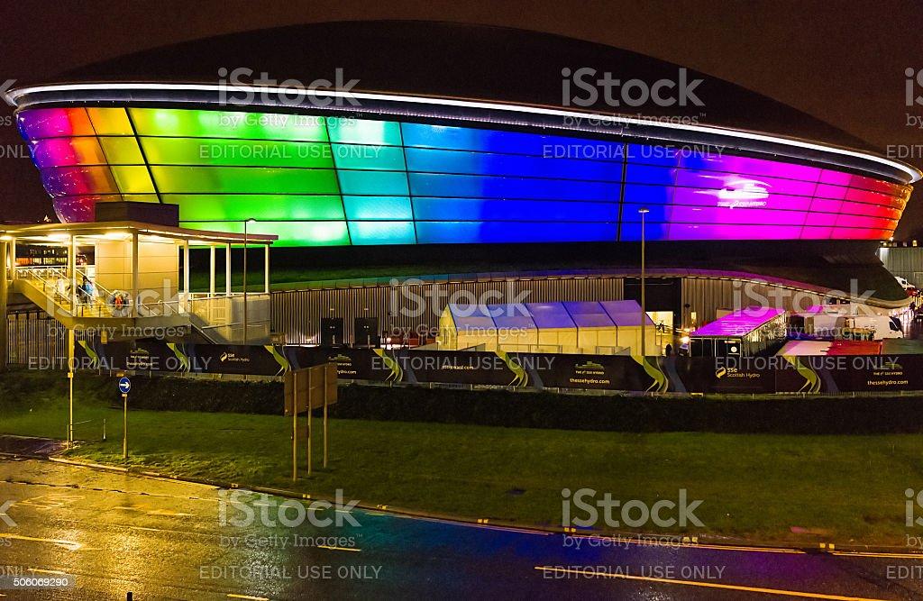 SSE Hydro Arena in Glasgow, Illuminated at night stock photo
