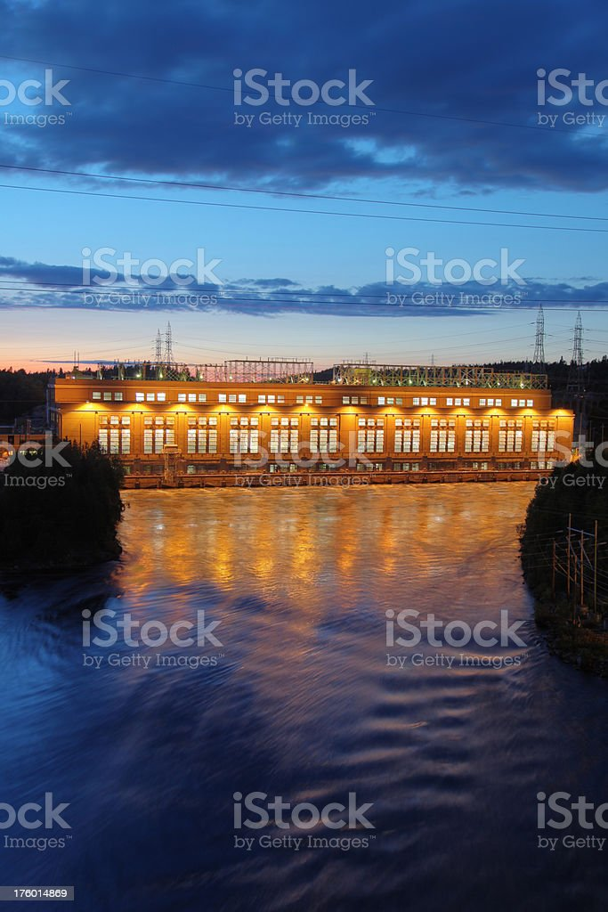 Hydro Electric Power Station at Sunset royalty-free stock photo