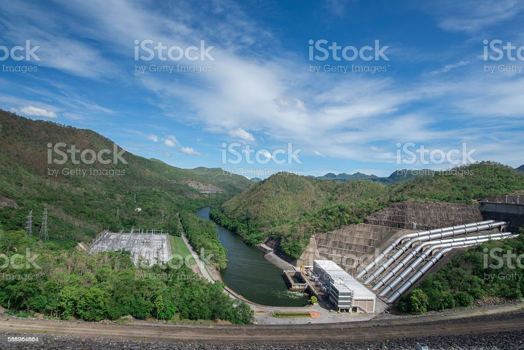 Hydro power plant Srinakarin Dam national park in Kanchanaburi Thailand stock photo